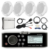 "Fusion Bluetooth Marine Receiver,4x 6.5""  Speaker, Amp + Kit, Antenna, Aux Mount (R-FUSMSUD650-PONTOON)"