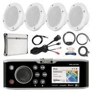 """Fusion Bluetooth Marine Stereo, 4x 6.5"""" Speakers, Amp + Kit, Antenna, Aux Mount (R-FUSMSUD750-PONTOON)"""