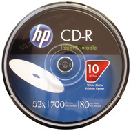 HP CR52WJH010CB 700MB 80-Minute 52x Printable CD-Rs, 10-ct Cake Box Spindle (R-HOOCR52WJH010)