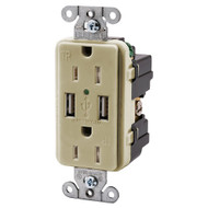 Hubbell USB15X2W 15AMP Outlet Dual USB Charging Ports Ivory (R-HUBUSB15X2I)