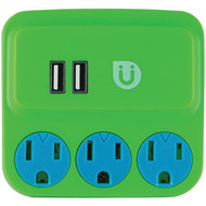 UBER 25113 Uber(TM) 3-Outlet Power Tap with 2 USB Ports (Green & Blue) (R-JAS25113)