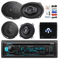 """Bluetooth CD/AM/FM Receiver, 2x 6x9"""" Speakers, 2x 5-1/4"""" Speaker, Amp, 50Ft Wire (R-KDCBT31-TA10504-KFC6995PS)"""