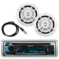 "Kenwood Marine Bluetooth CD MP3 USB AM/FM Reciver, 2X 6.5"" Speakers, Antenna (R-KMRD368BT-1-KFC1633MRW)"