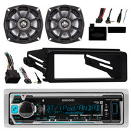 "Kenwood Marine Bluetooth Radio, 2x 5.25"" Speakers,Harness, Steering Control,Wire (R-KMRM318BT-1-10PS5250-1)"