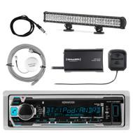 "Kenwood Marine Receiver Bluetooth, SiriusXM Tuner,Pyle 28"" Light Bar, 2x Antenna (R-KMRM318BT-1-SHASRA50B-LED24)"