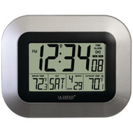 LA CROSSE TECHNOLOGY WS-8115U-S Atomic Digital Wall Clock with Indoor/Outdoor Temperature (R-LCRWS8115US)