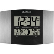 LA CROSSE TECHNOLOGY WS-8117U-IT-AL Digital Atomic Clock (Outdoor Temperature; Brushed Steel Finish) (R-LCRWS8117UITAL)