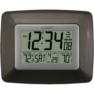 LA CROSSE TECHNOLOGY WS-8119U-IT-CHO Atomic Digital Clock with Indoor/Outdoor Temperature (Black) (R-LCRWS8119ITCHO)