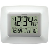LA CROSSE TECHNOLOGY WS-8119U-IT-W Atomic Digital Clock with Indoor/Outdoor Temperature (White) (R-LCRWS8119UITW)