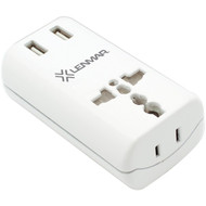 LENMAR AC150USBW Ultracompact All-in-One Travel Adapter with USB Port (White) (R-LENAC150USBW)