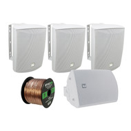 4 x Dual 125 Watt Indoor/Outdoor Speakers (White), Enrock 16-G 50FT Speaker Wire (R-LU53W-EB16G50FT-CCA)