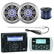 "Jensen Bluetooth Receiver, 2x 6.5"" Speaker, Remote, Antenna, 50Ft 16G Wire (R-MA400-2-SPK652BSL)"