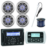 "Jensen Marine Bluetooth Receiver, 4x 6.5"" Speaker, Remote, Antenna,50Ft 16G Wire (R-MA400-4-SPK652BSL)"