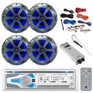 "Bluetooth Receiver, 4X 6.5"" Speakers w/ LED, Amp, Amp Install Kit, Antenna (R-MCD237BT-BAYBOAT)"