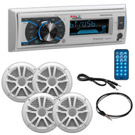 "Boss Marine Single Din Media Receiver With Bluetooth Pair 6.5"" Speakers Antenna Aux (R-MCK632WB64)"