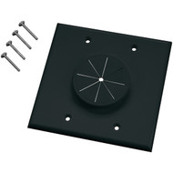 MIDLITE 2GBK-GR2 Double-Gang Wireport(TM) Wall Plate with Grommet (Black) (R-MDT2GBKGR2)