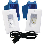 MIDLITE A46-W Decor Recessed Receptacle & Power Inlet Kit (White) (R-MDTA46W)
