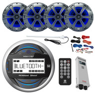 "Dual Bluetooth Gauge Receiver, 4X 6.5"" Speakers, Amp, Amp Install Kit, Antenna (R-MGH17BT-BAYBOAT)"