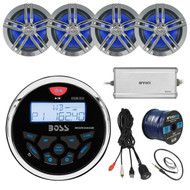 "Bluetooth Receiver, 4x 6.5"" Speakers, Amp, 50Ft Wire, Antenna, USB Aux Interface (R-MGR350B-PONTOON-WT)"