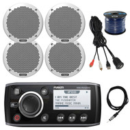 "Fusion Marine AM/FM Receiver, 4x 6"" Speakers, 50 Ft Wire, Antenna,USB Aux Mount (R-MSRA205-BAYBOAT)"