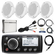 "Fusion Marine AM/FM Receiver, 4x 6.5"" Speakers,Amp,Install Kit,Antenna,Aux Mount (R-MSRA205-PONTOON)"