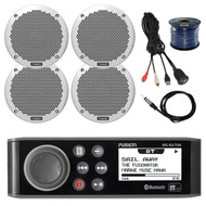 "Fusion AM/FM Bluetooth Stereo, 4x6"" Marine Speakers,Wire, Antenna,Aux Mount (R-MSRA70NI-BAYBOAT)"