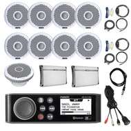 "AM/FM Receiver,8x 7"" Marine Speakers,Amps + Kits, Sub, Antenna,Remote,Aux Mount (R-MSRA70NI-BOAT)"