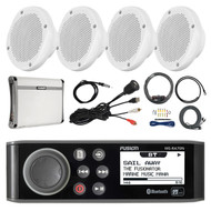 "AM/FM Bluetooth Marine Stereo, 4x 6.5"" Speakers, Amp + Kit, Antenna, Aux Mount (R-MSRA70NI-PONTOON)"