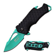 "Mtech Spring Assisted Knife 3"" Closed 2.75""  Green Blade (R-MTA882GN)"