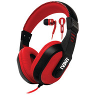 NAXA NE-934Red DJZ Ultra Plus Headphone/Earbud Combo (Red) (R-NAXNE934RED)