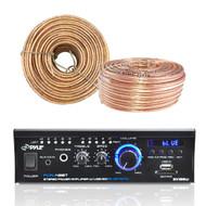 Pyle Amplifier Receiver w/ Bluetooth USB SD AUX CD LED, Enrock 18G 100 Ft Wire (R-PCAU48BT-100FT)