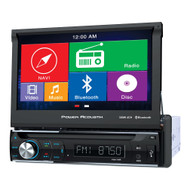 "Power Acoustik Single Din AM/FM/DVD/BT flip out 7"" with Navigation (R-PDN726B)"