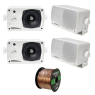 4 x Pyle 3.5'' 200 Watt 3-WayMarineSpeakers (White),  16-G 50 Ft Speaker Wire (R-PLMR24-EB16G50FT-CCA)