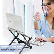 Portable laptop stand, foldable adjustable notebook holder, ergonomic lightweight stand for PC, Macbook, computer, tablet (R-PLPTS27)