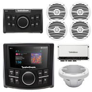 "Rockford Fosgate Bluetooth MP3 Marine Receiver,Remote,4x 6.5"" Speakers, Amp, Sub (R-PMX2-4W1S)"