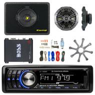 "MP3 Radio, w/ 10"" Car Sub + Box, 18-G 50 ft Wire, 6.5"" Speakers, Boss Amp, Grill (R-RB-LA1500BT-CWS104-KIT8G-CS654-R1100M)"
