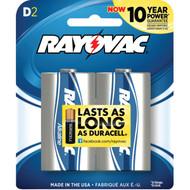 RAYOVAC 813-2F Alkaline Batteries (D; 2 pk) (R-RVC8132F)