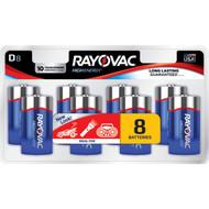 RAYOVAC 813-8LJ Alkaline Batteries, 8 pk (D) (R-RVC8138LJ)