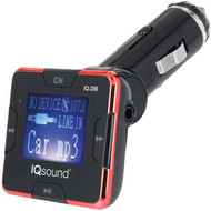 """Supersonic IQ-206 RED Wireless FM Transmitter with 1.4"""" Display (Red) (R-SSCIQ206RED)"""