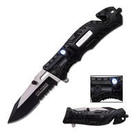 Tac Force Spring Assisted Knife Black Handle Sheriff Logo Led Light (R-TF835SH)