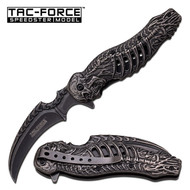 Tac Force Spring Assisted Knife Stonewashed Stainless Steel Handle (R-TF857)
