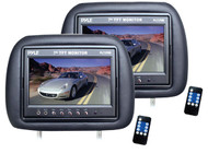 Pyle PL71PHB Adjustable Headrest Pair with Built-in 7'' TFT-LCD Monitors Black