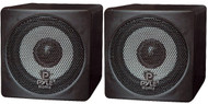 Pair Pyle PCB3BK 3'' 100 Watt Black Mini Cube Bookshelf Speaker In Black