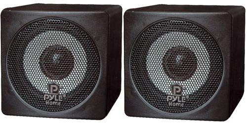 Pair Pyle PCB3BK 3'' 100 Watt Black Mini Cube Bookshelf Speaker In Black