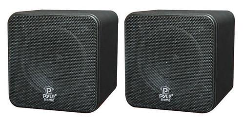 Pair Pyle PCB4BK 4'' 200 Watt Black Mini Cube Bookshelf Speaker In Black