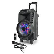 Portable PA Speaker & Microphone System, Bluetooth Wireless Streaming, Built-in Rechargeable Battery, Dancing DJ Party Lights (Includes Wired & Headset Mics) (R-PPHP816WMU)