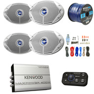 "4x JBL 6""x9"" Speakers W/ Kenwood Bluetooth Amp, Amp Install Kit, 50Ft 16g Wire (R-KACM1824BT-2-MS9520)"