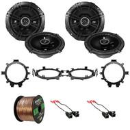 """4x Kicker 43DSC6504 6.5"""" 240W 2-Way Speakers, 4x Metra Speaker Wire Harness, 4x Speaker Mounting Brackets Adaptors, 16-Gauge 50 Foot Wire (Select 1995-2009 Vehicles)"""