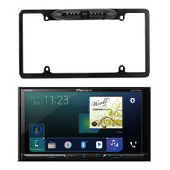"Pioneer Multimedia Double Din DVD Bluetooth SiriusXM-Ready Receiver w/ 7"" WVGA Display, Enrock Car License Plate Frame Rear View Backup Waterproof Camera"