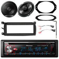 "Pioneer 1DIN CD Bluetooth HD AM/FM Radio Stereo, 2x 6.5"" 2-Way Speakers, Single-DIN Dash Kit , 2 Pin Rectangular Speaker Connector, Antenna Adapter, 4X6"" Speaker Plate (Select 2001-2006 Vehicles)"